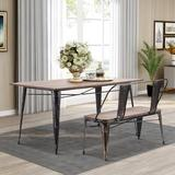 Williston Forge Antique Dining Table Set Wooden Rectangular Dining Table & Wooden Dining Table Bench w/ Metal Legs in Black/Brown, Size 30.3 H in