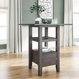 Red Barrel Studio® Counter Height Wood Kitchen Dining Table w/ Storage Cupboard & Shelf For Small Places Wood in Gray | Wayfair