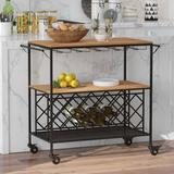 Latitude Run® Rolling Wine Rack, Vintage Industrial Wine Bar Cabinet w/ Glass Holder in Black/Brown, Size 14.2 H x 46.2 W x 7.9 D in | Wayfair