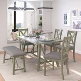 Rosalind Wheeler 6 Piece Dining Table Set Wood Dining Table & Chair Kitchen Table Set w/ Table, Bench & 4 Chairs, Rustic Style, Gray Wood   Wayfair