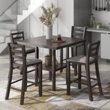 Red Barrel Studio® 5-Piece Wooden Counter Height Dining Set w/ Padded Chairs & Storage Shelving in Gray, Size 35.7 H in | Wayfair