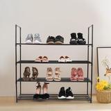 Rebrilliant 4-Tier Shoe Rack 16-Pair Shoe Storage in Black, Size 35.83 H x 27.5 W x 11.0 D in   Wayfair 6E0DCBFDA5F64D46BC89368F9E9C2F01
