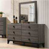 Union Rustic Avalos 6 Drawer Dresser w/ Mirror Wood in Brown, Size 36.0 H x 61.0 W x 15.0 D in | Wayfair 03A99603A0214BE98334AFB078E9BB33