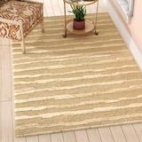 Ebern Designs Lockwood Striped Handmade Tufted Beige Area Rug Wool/Cotton in Brown/White, Size 96.0 H x 96.0 W x 0.63 D in   Wayfair