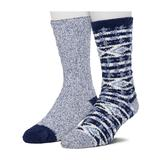 Men's Climatesmart by Cuddl Duds 2-Pack Patterned & Solid Ultra Soft and Cozy Crew Socks, Size: 10-13, Blue