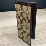 Coach Bags   Coach Monogrammed Leather Check Book Wallet   Color: Brown   Size: Os