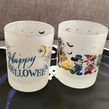 Disney Dining   Happy Halloween Frosted Glasses Disney Characters In Costume   Color: Blue/Orange   Size: 12 Oz