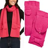 Kate Spade Accessories | Kate Spade Pink Bow Scarf & Glove Set | Color: Pink | Size: Os