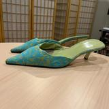 Nine West Shoes | Nine West Green Fabric Kitten Pointed-Toe Heeled Mules | Color: Green/Yellow | Size: 8.5