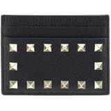 Valentino Garavani Genuine Leather Credit Card Case Holder Wallet Rockstuds - Black - Valentino Wallets
