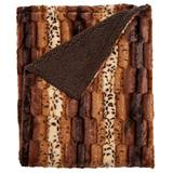 Faux Fur Animal Print Blanket by BrylaneHome in Wild Cat Print (Size FL/QUE)