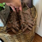 American Eagle Outfitters Shoes | American Eagle Brown Sandal Flat Lace Shoe | Color: Brown | Size: 10