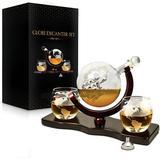 workRe Whiskey Decanter Set World Etched Globe Decanter Antique Ship Glasses Tongs Bar Funnel Stopper Liquor Dispenser Spirits Scotch Bourbon Vodka Rum Wine Glass