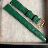 Gucci Jewelry | 14 Mm Genuine Gucci Green Leather Strap Band. Lizard Grainwith Gold Tone Buckle | Color: Green | Size: 14 Mm Watch Leather Swtrap Band