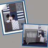 Disney Bedding | Disney Mickey Mouse Hello World Crib Quilt Blanket Lovey Patchwork Blue Grey | Color: Blue/Gray | Size: Os