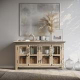 """Jofran Rustic Shores 54"""" Distressed Acacia Sideboard Cabinet - Surfside Blue Wood in Gray/Brown, Size 32.0 H x 54.0 W x 15.0 D in 
