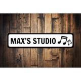 "Lizton Sign Shop, Inc Music Studio Sign - 4"" X 18"" Metal in Black, Size 6.0 H x 24.0 W x 0.06 D in   Wayfair 10145-A624"