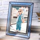 Everly Quinn Glass Picture Frame Photo Vertical Or Horizontal Easel Back Office Desk Table Top Home Decor Gift Metal in Blue | Wayfair