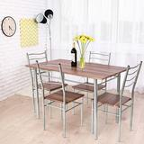 Latitude Run® 5 Pcs Wood Metal Dining Table Set w/ 4 Chairs,Natural in Gray/Brown, Size 29.5 H in | Wayfair B55B6D70DD474EB08D8C3A2A9890F4EC