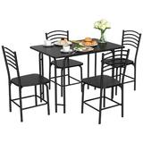 Latitude Run® 5 Pcs Wood Rectangular Dining Table Set in Black, Size 29.5 H in | Wayfair ED3707146BDF43DC9281F23E8E35E554