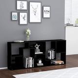 Latitude Run® Vidaxl Book Cabinet Storage Bookcase Standing Shelf Rack Home Organizer Interior Storing Display w/ Shelves High Gloss Gray Chipboard