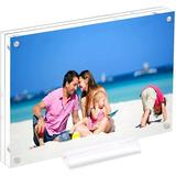 Orren Ellis Acrylic Clear Acrylic Picture Frames, Magnetic Picture Frames w/ Gift Box Package, Size 4.0 H x 6.0 W x 0.45 D in | Wayfair