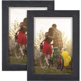 Latitude Run® Picture Photo Frame 2 Pack Solid Cedarwood w/ Clear Glass For Desktop Display & Wall Hanging Washed Wood in Black | Wayfair