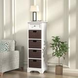 Winston Porter Storage Cabinet,modern Farmhouse Accent End Cabinet w/ 4 Removable Baskets Wood in White, Size 44.88 H x 14.96 W x 11.81 D in Wayfair