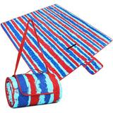 Arlmont & Co. Extra Large Outdoor Waterproof Picnic Blanket, Sandproof & Waterproof Blanket For Beach, Park, Camping Or Travel in Red/Blue | Wayfair