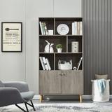 Corrigan Studio® Bookcase, Bookshelf,Walnut Wood in Brown, Size 67.32 H x 35.43 W x 13.98 D in | Wayfair 4E9E04D1207E44AD9C95D9FB0B9E7772