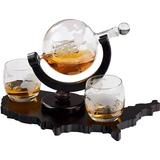 Red Barrel Studio® Whiskey Decanter Set World Etched Globe Decanter Airtight Stopper Antique Ship Liquor Dispenser Perfect Bar Gift Bourbon Scotch Vodka Liquor USA Map T