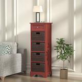Winston Porter Storage Cabinet,modern Farmhouse Accent End Cabinet w/ 4 Removable Baskets Wood in Brown, Size 44.88 H x 14.96 W x 11.81 D in Wayfair