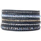 18k Goldplated Mixed-stone Wrap Bracelet - Blue - Chan Luu Bracelets