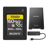 Sony CFexpress Type A 160GB Memory Card with MRWG2 CFexpress Type A/SD Memory Card Reader and 4 Port USB 3.0 Hub Bundle
