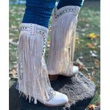 NANIYA Women's Western Boots WHITE - White Fringe Stud-Accent Cowboy Boot - Women