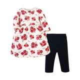 Hudson Baby Girls' Casual Dresses Red - Red Rose Quilted Babydoll Dress & Black Leggings - Newborn, Infant, Toddler & Girls
