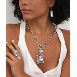 YUSHI Women's Earrings SILVER - Crystal & Silvertone Pendant Necklace Set