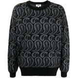 Paisley-pattern Crew Neck Jumper - Blue - YMC Knitwear