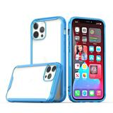 Colored Shockproof Transparent Hard PC TPU Hybrid Case, Blue/Clear For iPhone 12 Pro Max