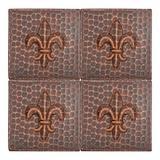 """Premier Copper Products 4"""" X 4"""" Hammered Copper Fleur De Lis Tile - Quantity 4 Metal in Brown, Size 4.0 H x 4.0 W x 0.38 D in   Wayfair T4DBF_PKG4"""