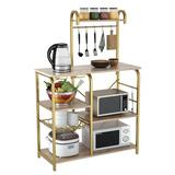 17 Stories Kitchen Shelf Microwave Rack Board w/ 6 S-Shaped Hooks 6 Shelves Pull-Out Mesh Basket Suitable For Kitchen, Office, Bathroom (Brown) Wood