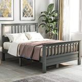 Red Barrel Studio® Wood Platform Bed w/ Headboard & Footboard, Full (Gray) in Brown/Gray/White, Size 42.0 H x 54.4 W x 75.9 D in   Wayfair