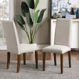 Red Barrel Studio® Upholstered Dining Chairs - Dining Chairs Set Of 2 Fabric Dining Chairs Wood/Upholstered/Fabric in Brown | Wayfair