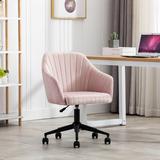 Everly Quinn Office Chair Modern Design Velvet Chair w/ Arms Upholstered in Pink | Wayfair 9D0B6819A1D845B4A0C7E6359918F536
