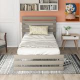 Harriet Bee Twin Size Platform Bed w/ Headboard Wood in Gray, Size 41.4 H x 40.7 W x 76.69 D in | Wayfair 14075FF43F9740D1A884C738CF74850F