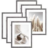 Gracie Oaks 6 Pack Farmhouse Picture Frames Sets w/ Rustic Wood Grain Pattern-Made To Dispaly Photos For Gallery Wall Kit Or Home Decoration Plastic