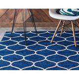 Red Barrel Studio® Trellis Frieze Collection Lattice Moroccan Geometric Modern Round Rug in Blue/Navy/White, Size 96.0 W x 0.33 D in | Wayfair