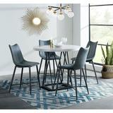 Orren Ellis Lucy-Rose 5-Piece Dining Set w/ Round Counter-Height Table & 4 Tufted Chairs in Black/Gray/White, Size 36.0 H in   Wayfair