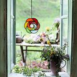 Winston Porter Rainbow Stained Glass Window Panel in Red, Size 3.9 H x 3.9 W x 0.0394 D in | Wayfair 2C15B747088D4C9F84577D26FC7E1A0C