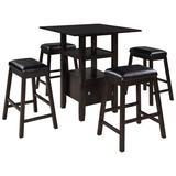 Red Barrel Studio® 5 Pieces Counter Height Wood Kitchen Dining Table Set w/ 4 Upholstered Stools w/ Storage Cupboard & Shelf For Small Places